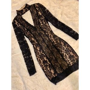 Bebe Long Sleeve Lace Bodycon Dress w/ Choker, XS